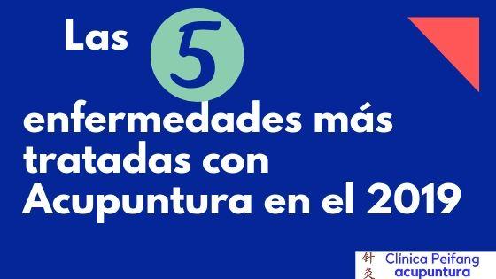 Es un banner de blog paraLas cinco enfermedades más tratadas en la clínica de acupuntura peifang en valencia.