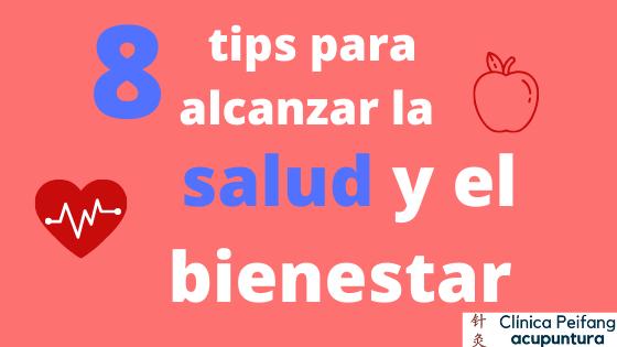 Es el banner del blog de los 8 tips para alcanzar la salud con acupuntura en valencia.