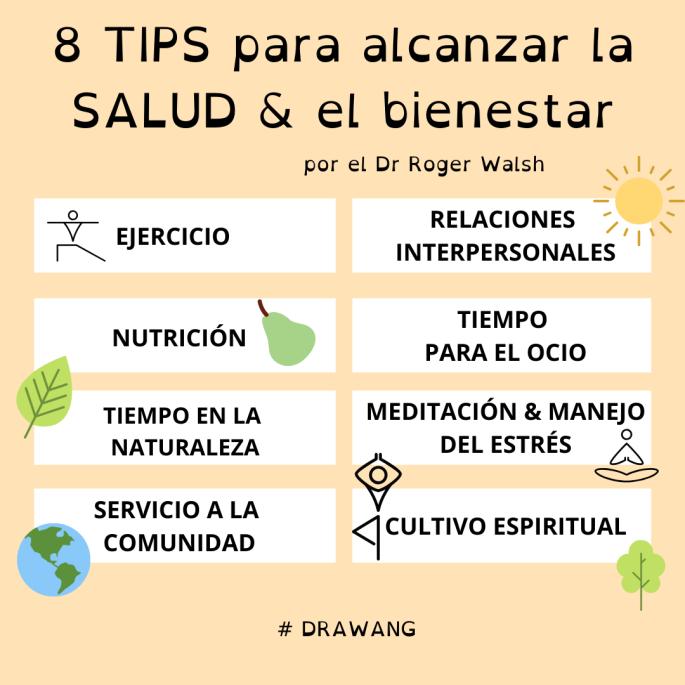 Están descritos los 8 tips para alcanzar la salud escrito en acupuntura peifang en Valencia por Isabel Wang
